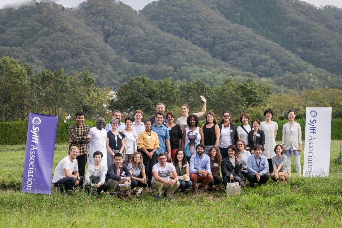 Sylff fellows and secretariat members in Sasayama.