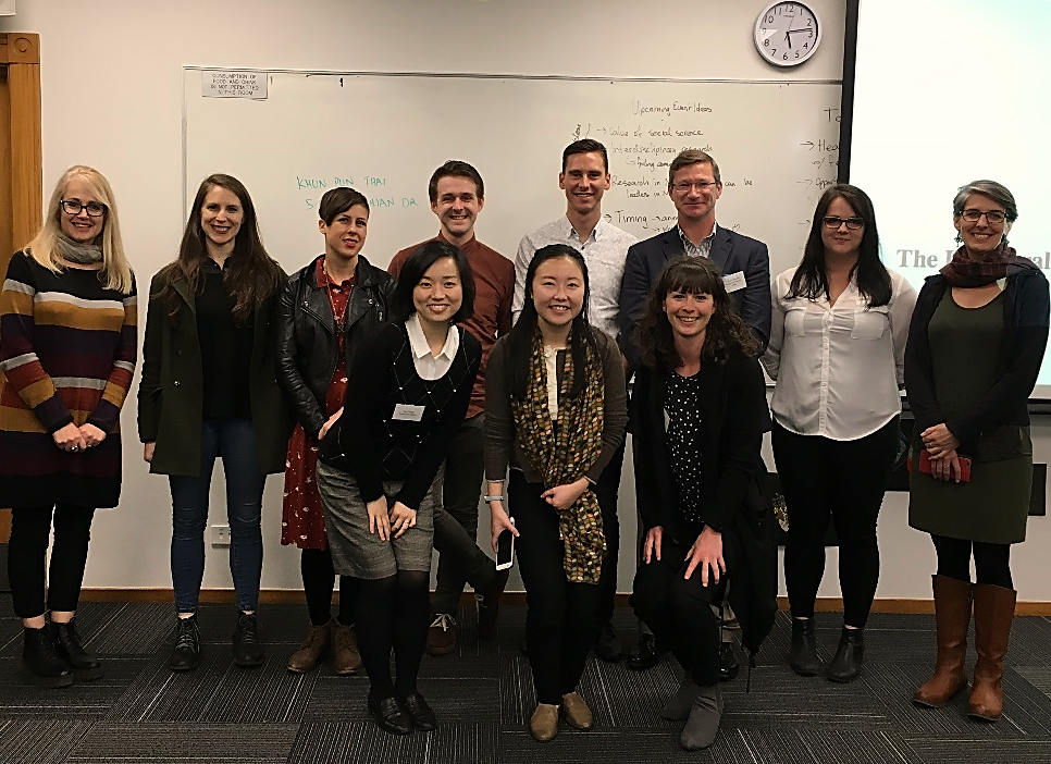 A group photo after the meeting: (front row, left to right) Ms. Yue Zhang, Ms. Amy Liang, Ms. Meg Stairmand, (back row, left to right) Ms. Naomi Collins, Ms. Tess Bartlett, Ms. Kayt Bronnimann, Mr. Scott Brebner, Mr. Robert Haua, Mr. Richard Wanden, Ms. Giulia Lowe, and Dr. Trisia Farrelly.